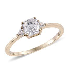 9K Y Gold (Asscher Cut) Ring Made with SWAROVSKI ZIRCONIA