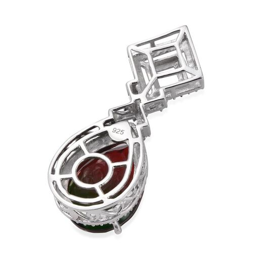 Bi-Color Tourmaline Quartz (Pear), Diamond Pendant in Platinum Overlay Sterling Silver 9.510 Ct.