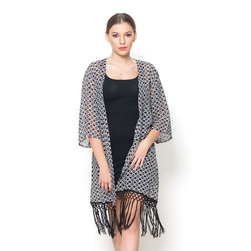 Black and White Colour Printed Kimono with Tassels (Size 80x50 Cm)