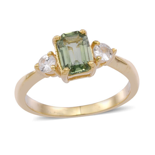 Madagascar Green Sapphire (Oct 1.00 Ct), Natural Cambodian Zircon Ring in 14K Gold Overlay Sterling Silver 1.250 Ct.