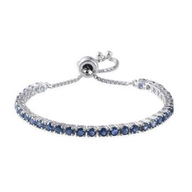 Kanchanaburi Blue Sapphire (Rnd) Adjustable Bracelet (Size 7.5) in Platinum Overlay Sterling Silver 7.671 Ct.