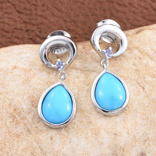 Arizona Sleeping Beauty Turquoise (Pear),Tanzanite Earrings (with Push Back) in Platinum Overlay Sterling Silver 2.500 Ct.