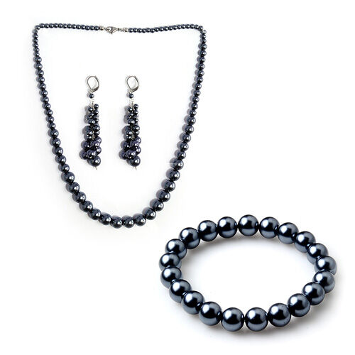 Peacock Glass Pearl Stainless Steel 3 Pcs Earring, Bracelet (Size 7.50) and Necklace (Size 20.00) Set  0.006  Ct.