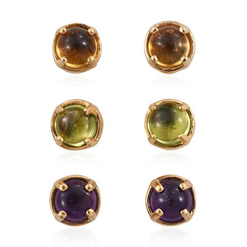 Set of 3 - Amit Special Deal Amethyst (Rnd), Citrine and Hebei Peridot Stud Earrings (with Push Back) in 14K Gold Overlay Sterling Silver 3.000 Ct.