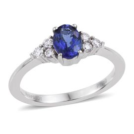 RHAPSODY 950 Platinum AAAA Tanzanite (Ovl 0.85 Ct), Diamond Ring 1.000 Ct.