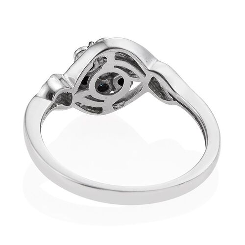 Blue Diamond, White Diamond Floral Ring in Platinum Overlay Sterling Silver 0.200 Ct.