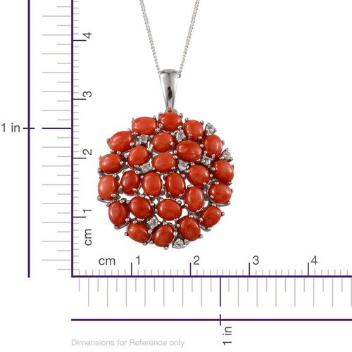 Mediterranean Coral (7.25 Ct),White Topaz Platinum Overlay Sterling Silver Pendant With Chain  7.400  Ct.