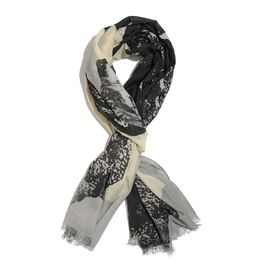 Black, Grey and Cream Colour Butterfly Scarf (Size 200x100 Cm)