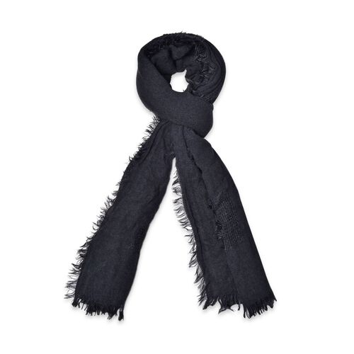 Weave Pattern Black Colour Scarf with Fringes (Size 210x70 Cm)