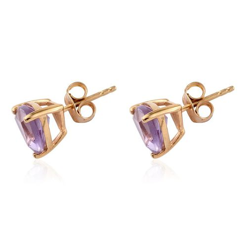 Rose De France Amethyst (Trl) Stud Earrings (with Push Back) in 14K Gold Overlay Sterling Silver 3.000 Ct.