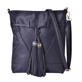 Black Colour Crossbody Bag with Tassels and Adjustable and Removable Shoulder Strap (Size 36x30x9 Cm)