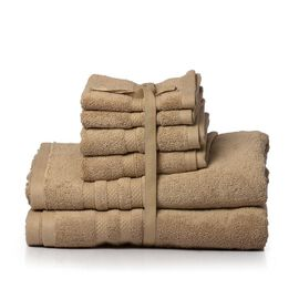 Set of 6 - 100% Cotton Brown Colour 2 Bath Towels (Size 140x75 Cm), 2 Hand Towels (Size 70x40 Cm) and 2 Face Towels (Size 33x33 Cm)
