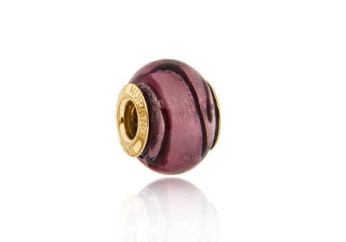 Close Out Deal 9K Y Gold Purple Colour Murano Glass Bead Charm