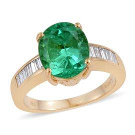 ILIANA 18K Y Gold AAAA Boyaca Colombian Emerald (Ovl 4.25 Ct), Diamond (SI/G-H) Ring 4.750 Ct.