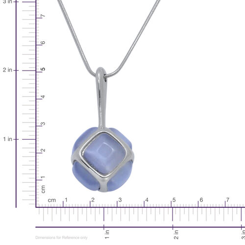 Simulated White Cats Eye Necklace (Size 30 with Extender) in Silver Tone