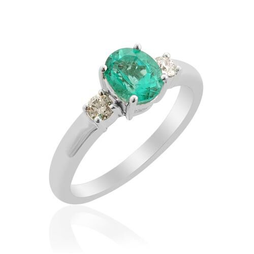 RHAPSODY Boyaca Colombian Emerald (1.028 Ct) and Diamond 950 Platinum Ring  1.207 Ct.