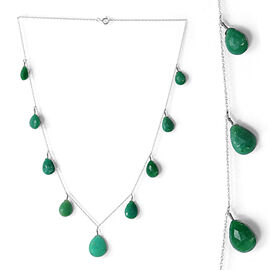 Chrysoprase (Pear) Necklace (Size 18) in Platinum Overlay Sterling Silver 32.200 Ct.
