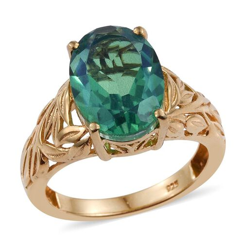 Peacock Quartz (Ovl) Solitaire Ring in 14K Gold Overlay Sterling Silver 6.250 Ct.