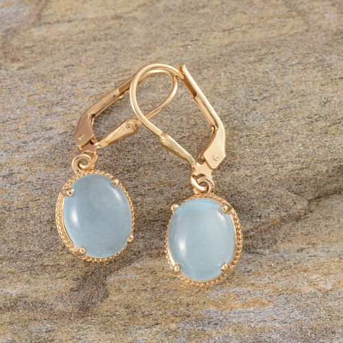Espirito Santo Aquamarine (Ovl) Earrings in 14K Gold Overlay Sterling Silver 4.750 Ct.