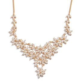 J Francis - Yellow Gold Overlay Sterling Silver Necklace (Size 18) Made with SWAROVSKI ZIRCONIA