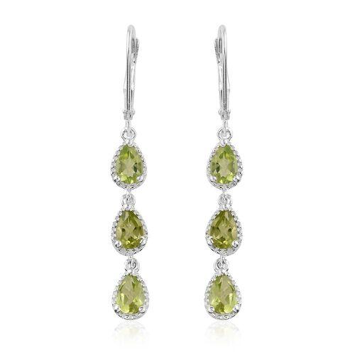 Hebei Peridot (Pear) Lever Back Earrings in Sterling Silver 2.250 Ct.