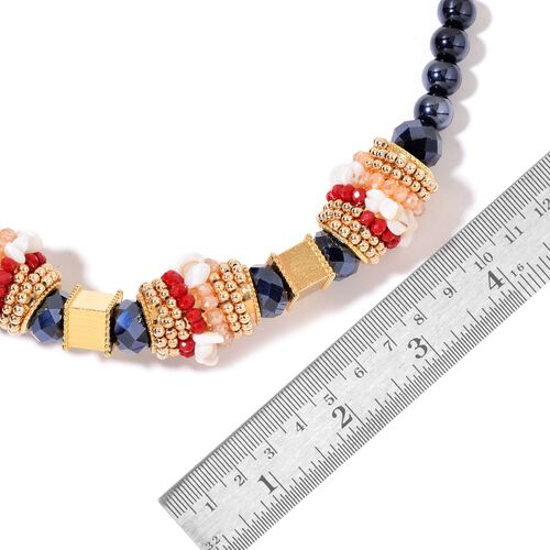White Shell, Black and Multi Colour Beads Necklace (Size 20 with 2 inch Extender) in Yellow Gold Tone