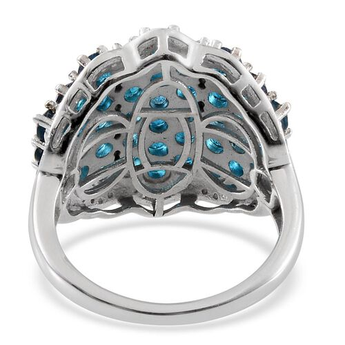 Malgache Neon Apatite (Rnd), Diamond Cluster Ring in Platinum Overlay Sterling Silver 5.020 Ct.