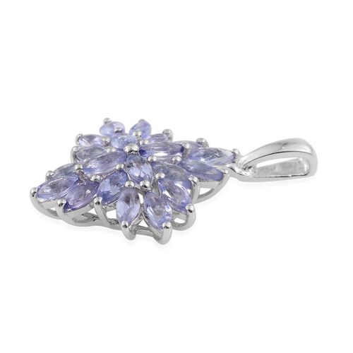 Tanzanite (Mrq) Cluster Pendant in Platinum Overlay Sterling Silver 1.750 Ct.