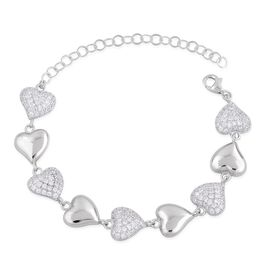 ELANZA AAA Simulated White Diamond (Rnd) Heart Bracelet (Size 6 with 2 inch Extender) in Rhodium Plated Sterling Silver
