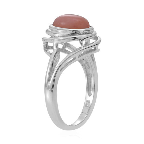 Peruvian Pink Opal (Ovl) Solitaire Ring in Rhodium Plated Sterling Silver 1.100 Ct.