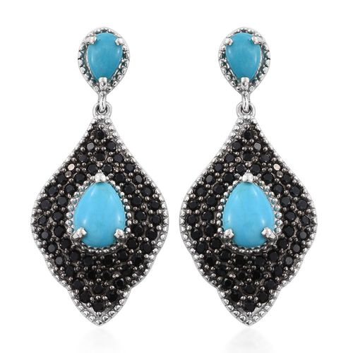 Limited Edition - Arizona Sleeping Beauty Turquoise (Pear), Boi Ploi Black Spinel Earrings (with Push Back) in Platinum Overlay Sterling Silver 4.500 Ct.