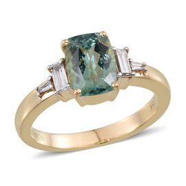 ILIANA 18K Y Gold Mozambique Paraiba Tourmaline (Cush 1.50 Ct), Diamond Ring 1.750 Ct.