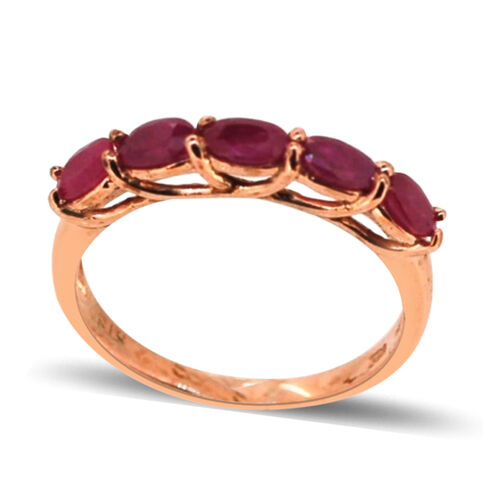 Burmese Ruby (Ovl) 5 Stone Ring in Rose Gold Overlay Sterling Silver 1.500 Ct.
