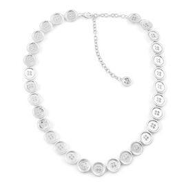LucyQ Button Necklace (Size 16 with 4 inch Extender) in Rhodium Plated Sterling Silver 45.30 Gms.