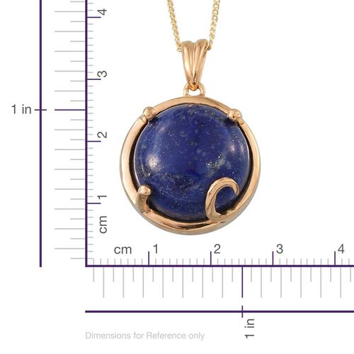 Lapis Lazuli (Rnd) Solitaire Pendant With Chain in 14K Gold Overlay Sterling Silver 10.250 Ct.