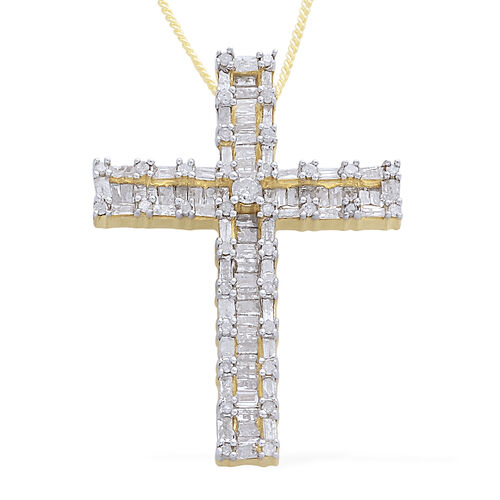 Limited Edition - Diamond (Rnd) Cross Pendant With Chain in 14K Gold Overlay Sterling Silver 1.000 Ct.