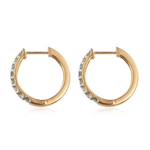 AA Natural Cambodian Blue Zircon (Rnd) Hoop Earrings in 14K Gold Overlay Sterling Silver 3.000 Ct.