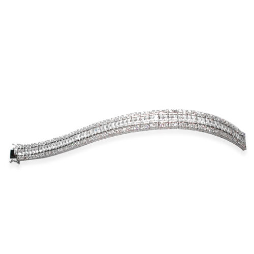 ELANZA AAA Simulated Diamond (Bgt) Bracelet in Rhodium Plated Sterling Silver (Size 7.5). Silver WT 35 Gms.