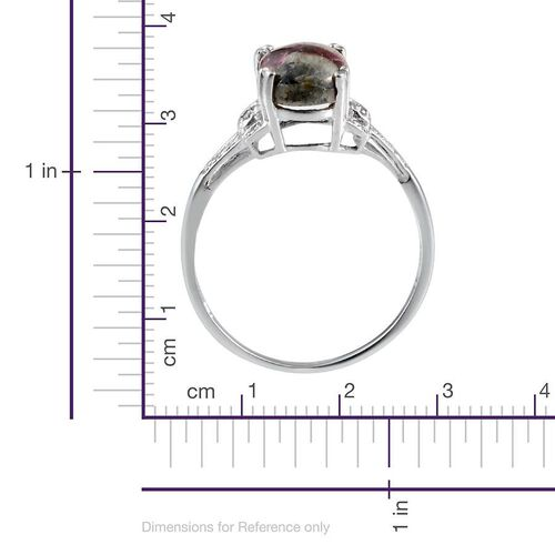 Russian Eudialyte (Ovl 2.25 Ct), Diamond Ring in Sterling Silver 2.260 Ct.