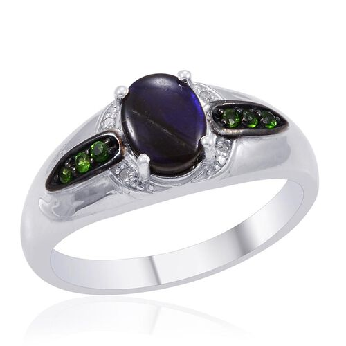 Designer Collection Canadian Ammolite (Ovl 1.62 Ct), Russian Diopside Diamond Ring in Platinum Overlay Sterling Silver 1.820 Ct.