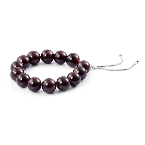 Indian Garnet Ball Beads Adjustable Bracelet (Size 6.5 to 8) in Rhodium Plated Sterling Silver 190.00 Ct.