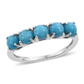 Arizona Sleeping Beauty Turquoise (Rnd) 5 Stone Ring in Platinum Overlay Sterling Silver 1.250 Ct.