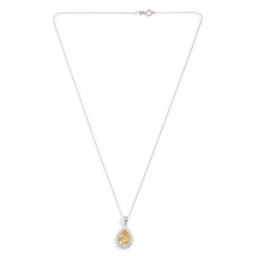Close Out Deal AAA Simulated Citrine and Simulated White Diamond Pendant with Chain in Rhodium Plated Sterling Silver