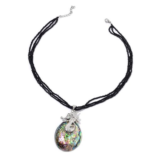 Abalone Shell and Simulated Black Spinel Pendant With Chain in Silver Tone with Stainless Steel 114.300 Ct.