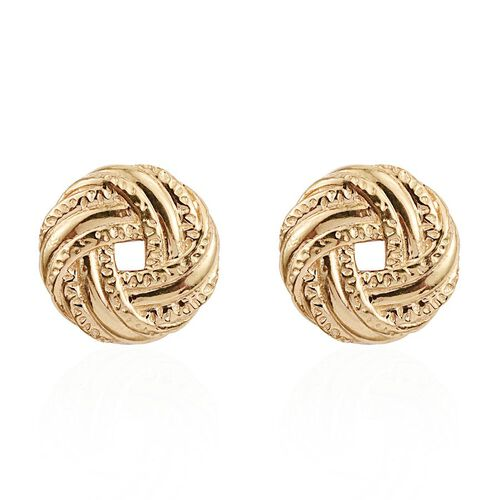 14K Gold Overlay Sterling Silver Stud Earrings (with Push Back), Silver wt 4.42 Gms.
