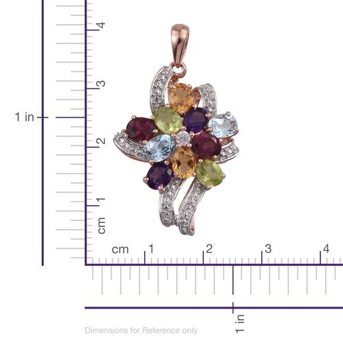 Rhodolite Garnet (Ovl), Sky Blue Topaz, Hebei Peridot, Citrine, Amethyst and Natural Cambodian Zircon Pendant in Rose Gold Overlay Sterling Silver 3.750 Ct.