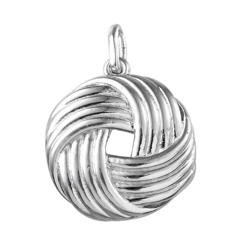 Platinum Overlay Sterling Silver Knot Pendant, Silver wt 4.96 Gms.