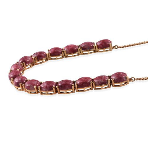 Norwegian Thulite (Ovl) Necklace (Size 18) in 14K Gold Overlay Sterling Silver 45.000 Ct.