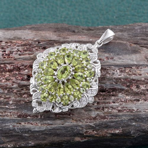 Hebei Peridot (Ovl), Natural Cambodian Zircon Cluster Pendant in Platinum Overlay Sterling Silver 6.750 Ct. Silver wt 8.16 Gms.