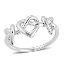 LucyQ Entwined Heart Ring in Rhodium Plated Sterling Silver